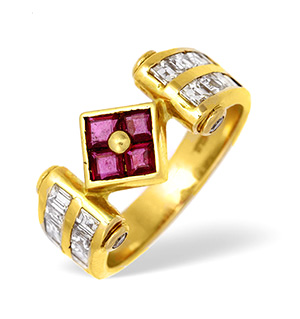 18KY Princess Diamond and Ruby Ring with Square Detail 0.75ct