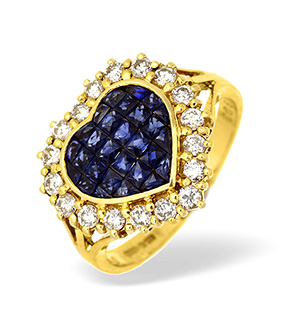 18KY Diamond and Sapphire Heart Cluster Ring 0.50CT