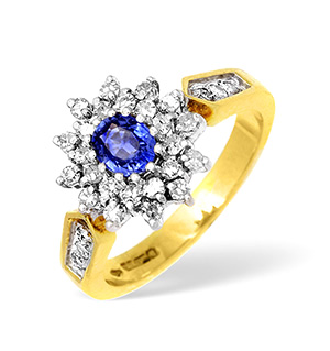 18KY Diamond and Sapphire Cluster Ring with Shoulder Detail 0.50CT