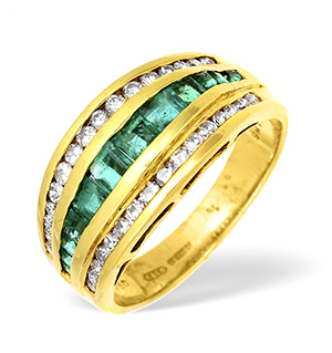 18KY Diamond and Emerald Three Row Channel Set Half Eternity Ring 0.75CT
