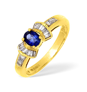 18KY Diamond and Sapphire Bow Design Ring with Shoulder Detail 0.25CT