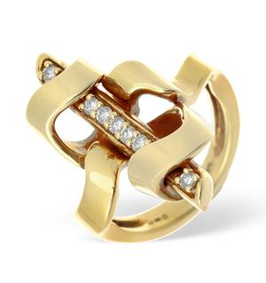 14K Gold Pave Diamond Ring with Bar Detail