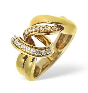 14K Gold Pave Diamond Twist Design Ring