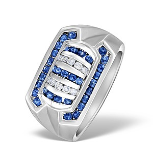 9K White Gold Diamond and Sapphire Mens Ring