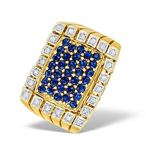 9K Gold Diamond and Sapphire Pave Mens Ring