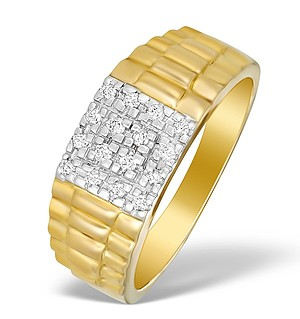 9K Gold Diamond Pave Men