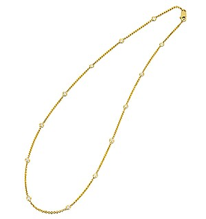 18K Gold Diamond Line Necklace 0.51ct
