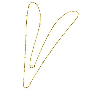 18K Gold Diamond Long Line Necklace 1.00ct