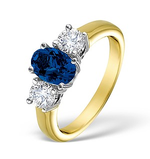 18K Gold 0.50CT H/SI Diamond and 0.80CT Sapphire Ring