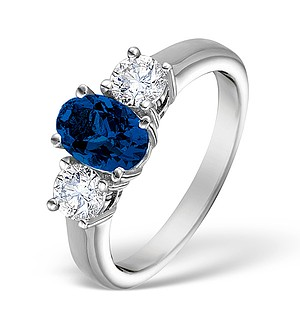 18K White Gold 0.50CT H/SI Diamond and 0.80CT Sapphire Ring