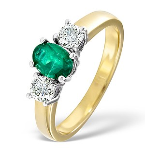 18K Gold 0.50CT H/SI Diamond and 0.70CT Emerald Ring