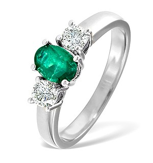 18K White Gold 0.50CT H/SI Diamond and 0.70CT Emerald Ring