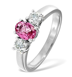 18K White Gold 0.50CT H/SI Diamond and 1.00CT Pink Sapphire Ring
