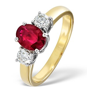 18K Gold 0.50CT H/SI Diamond and 1.15CT Ruby Ring
