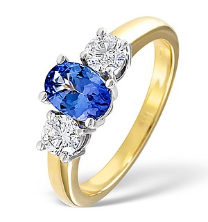 18K Gold 0.50CT H/SI Diamond and 0.80CT Tanzanite Ring