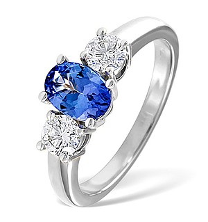 18K White Gold 0.50CT G/Vs Diamond and 0.80CT Tanzanite Ring