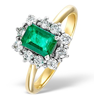 18K Gold 0.50CT Diamond and 1.00CT Emerald Ring