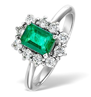 18K White Gold 0.50CT Diamond and 1.00CT Emerald Ring