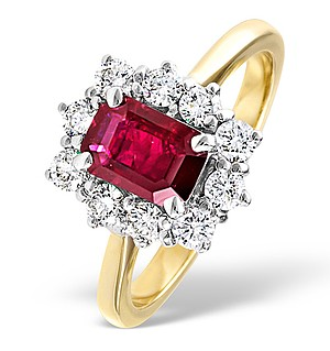 18K Gold 0.50CT Diamond and 1.10CT Ruby Ring