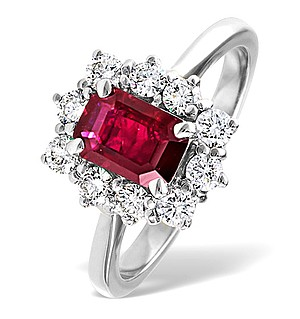 18K White Gold 0.50CT Diamond and 1.10CT Ruby Ring