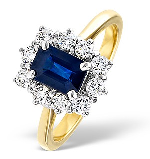 18K Gold 0.50CT Diamond and 1.15CT Sapphire Ring