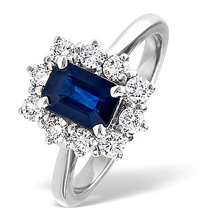 18K White Gold 0.50CT Diamond and 1.15CT Sapphire Ring