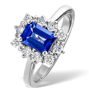 18K White Gold 0.50CT Diamond and 1.20CT Tanzanite Ring