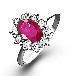 18K White Gold 0.50CT Diamond and 1.05CT Pink Sapphire Ring