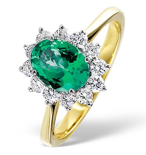 18K Gold 0.50CT Diamond and 1.15CT Emerald Ring