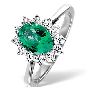 18K White Gold 0.50CT Diamond and 1.15CT Emerald Ring