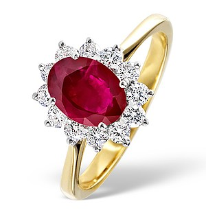 18K Gold 0.50CT Diamond and 1.35CT Ruby Ring