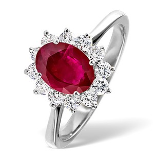 18K White Gold 0.50CT Diamond and 1.35CT Ruby Ring