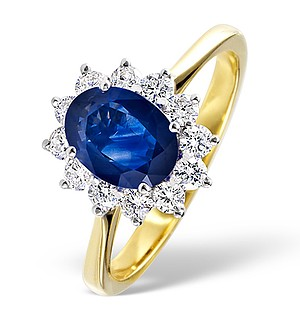 18K Gold 0.50CT Diamond and 0.80CT Sapphire Ring