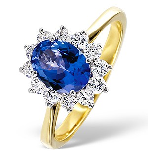 18K Gold 0.50CT Diamond and 1.30CT Tanzanite Ring