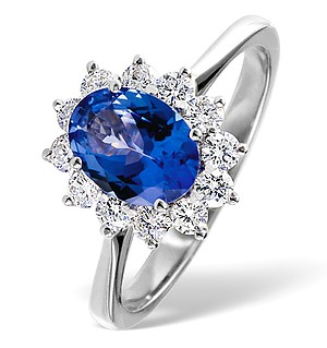 18K White Gold 0.50CT Diamond and 0.80CT Tanzanite Ring