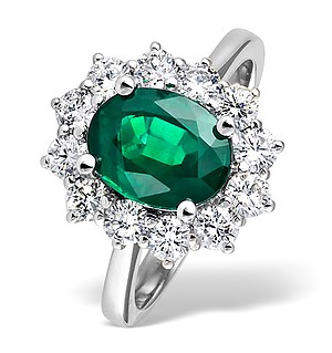 18K White Gold 1.00CT Diamond and 1.95CT Emerald Ring