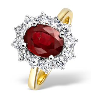 18K Gold 1.00CT Diamond and 2.40CT Ruby Ring
