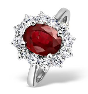 18K White Gold 1.00CT Diamond and 2.40CT Ruby Ring