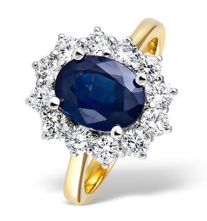 Princess 18K Gold 1.00CT Diamond and 2.30CT Sapphire Ring