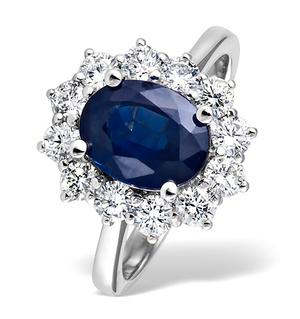 Princess 18K White Gold 1.00CT Diamond and 2.30CT Sapphire Ring