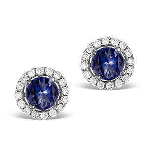 Sapphire 0.75CT And Diamond 18K White Gold Earrings