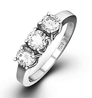 Chloe 18K White Gold 3 Stone Diamond Ring 1.00CT G/VS