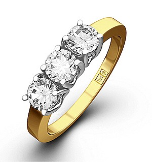 Chloe 18K Gold 3 Stone Diamond Ring 1.00CT H/SI