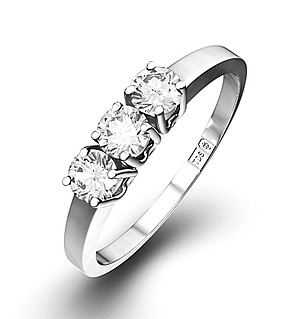 Chloe 18K White Gold 3 Stone Diamond Ring 0.50CT H/SI