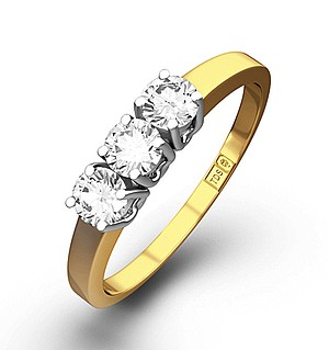 Chloe 18K Gold 3 Stone Diamond Ring 0.50CT H/SI