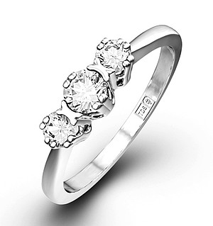 Emily 18K White Gold 3 Stone Diamond Ring 0.75CT H/SI