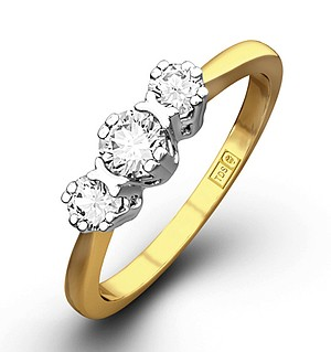 Emily 18K Gold 3 Stone Diamond Ring 0.75CT H/SI