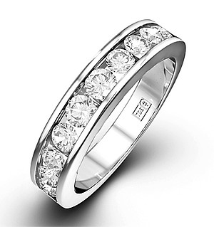Rae 18K White Gold Diamond Half Band Eternity Ring 1.00CT G/VS