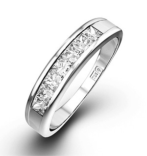 18K White Gold Princess Diamond Half Eternity Ring 0.50CT H/SI