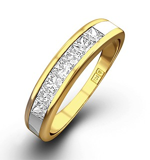 18K Gold Princess Diamond Half Eternity Ring 1.00CT H/SI